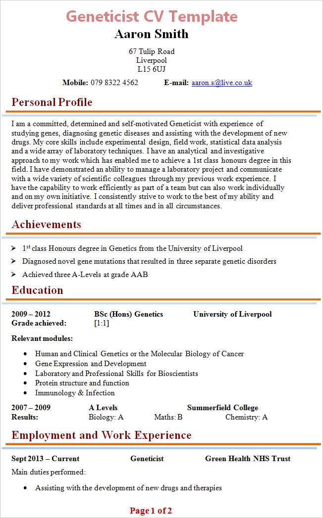 Geneticist Cv Template
