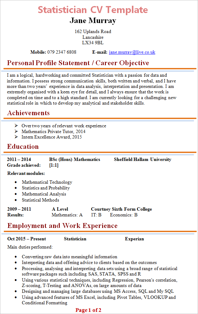 Statistician resume example