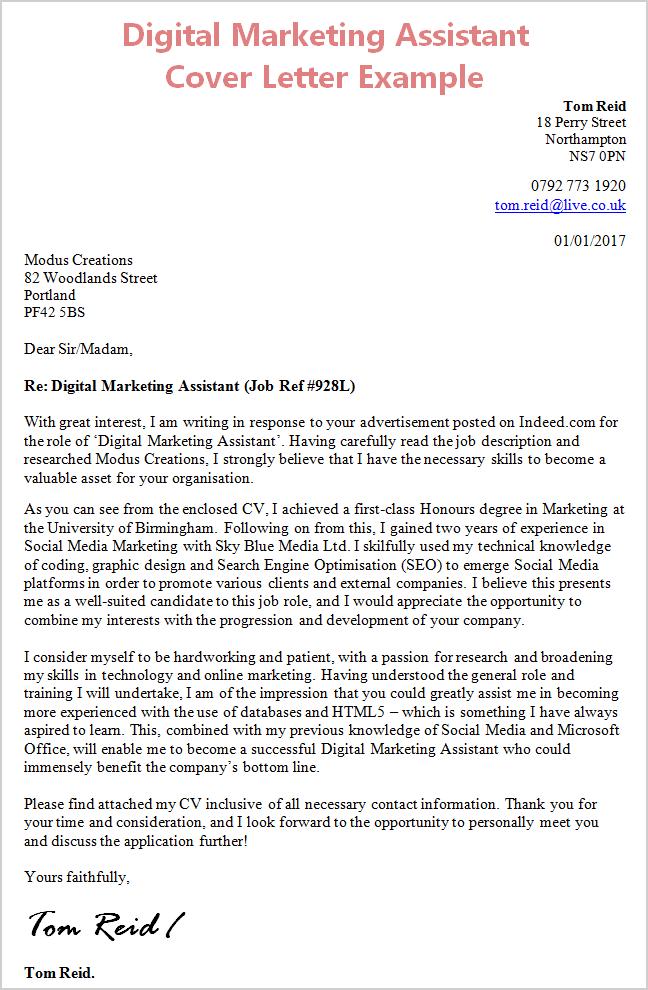 Digital Marketing Manager Cover Letter Sle