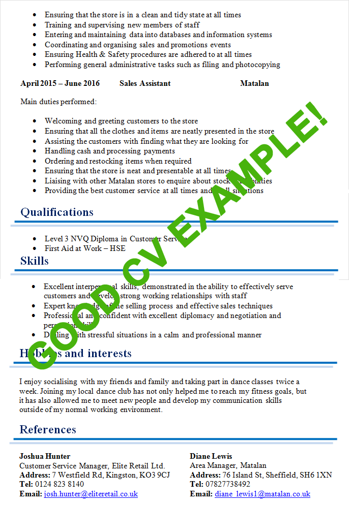 a really good example of a resume