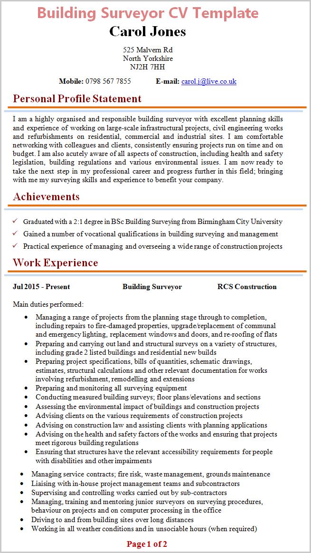 personal statement cv internship