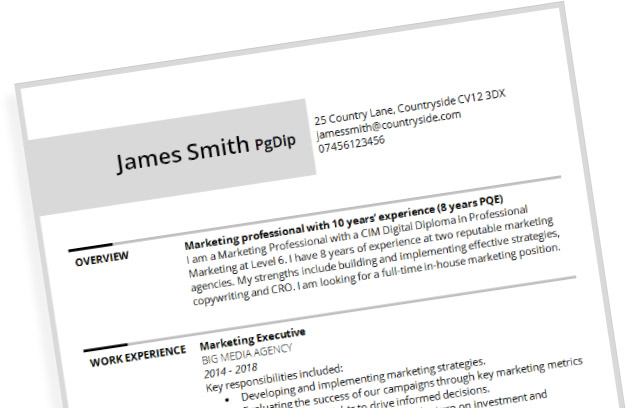 Marketing CV example: free template download in Microsoft
