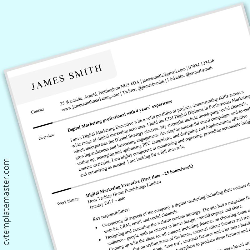 Digital marketing CV template to download (free, Microsoft Word) | CVTemplateMaster.com