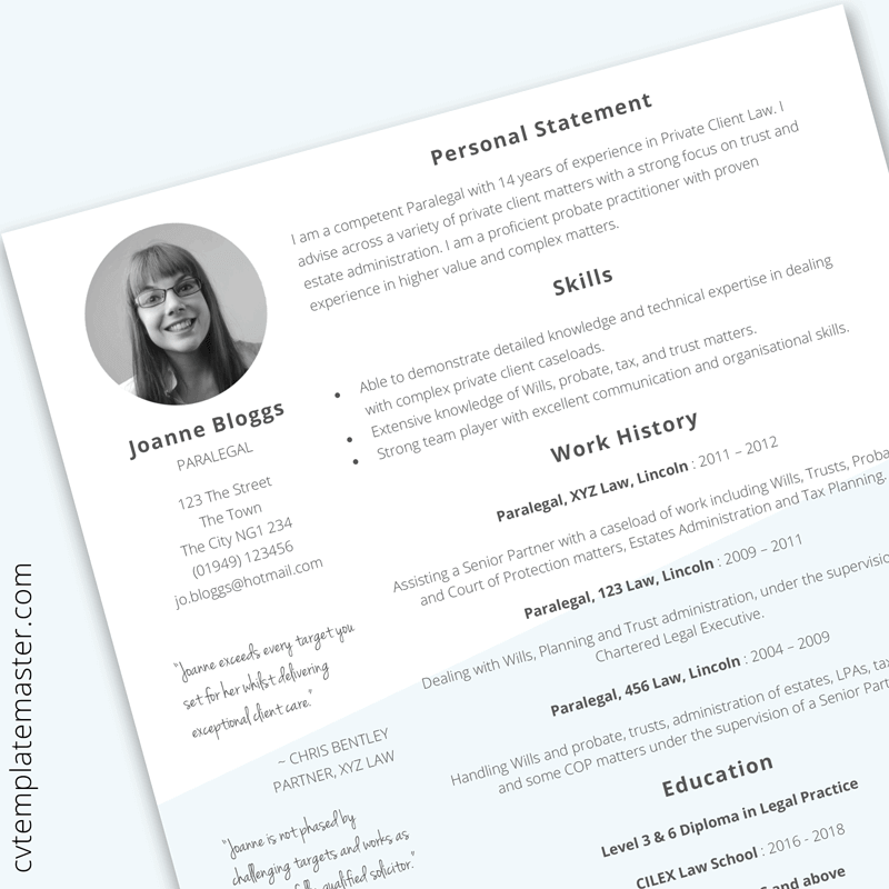 Paralegal CV template in Word (free download
