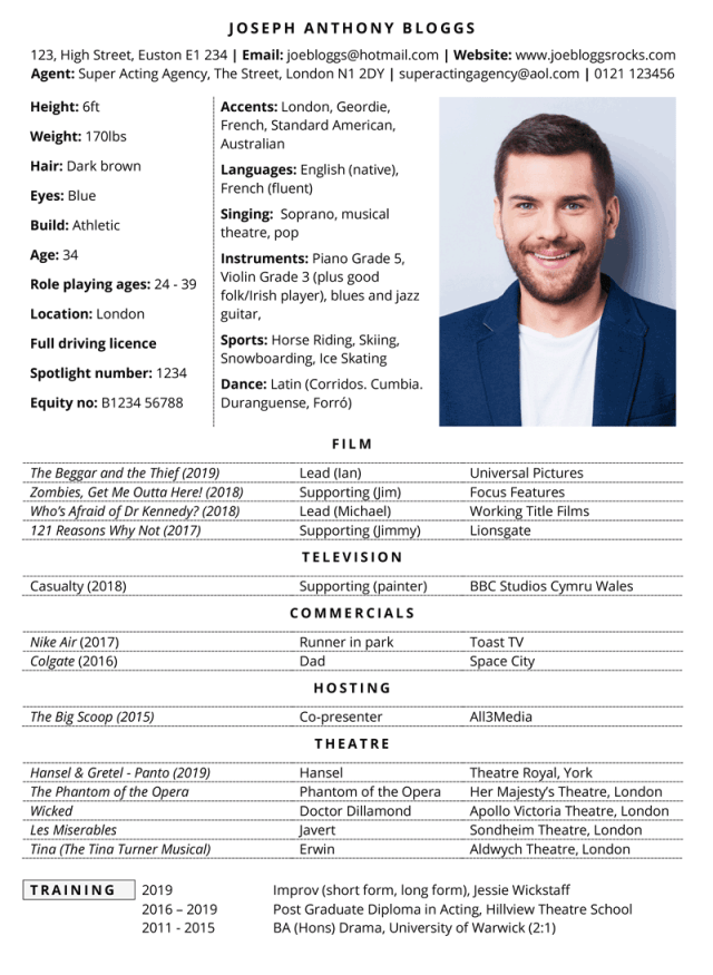 Acting CV template with example content (free, Microsoft Word)