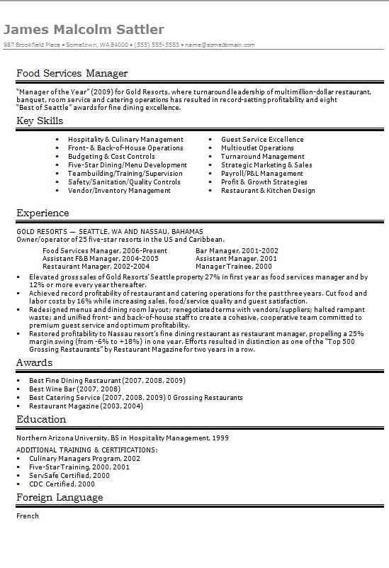 Food Services Manager CV Résumé Example CV Template Master