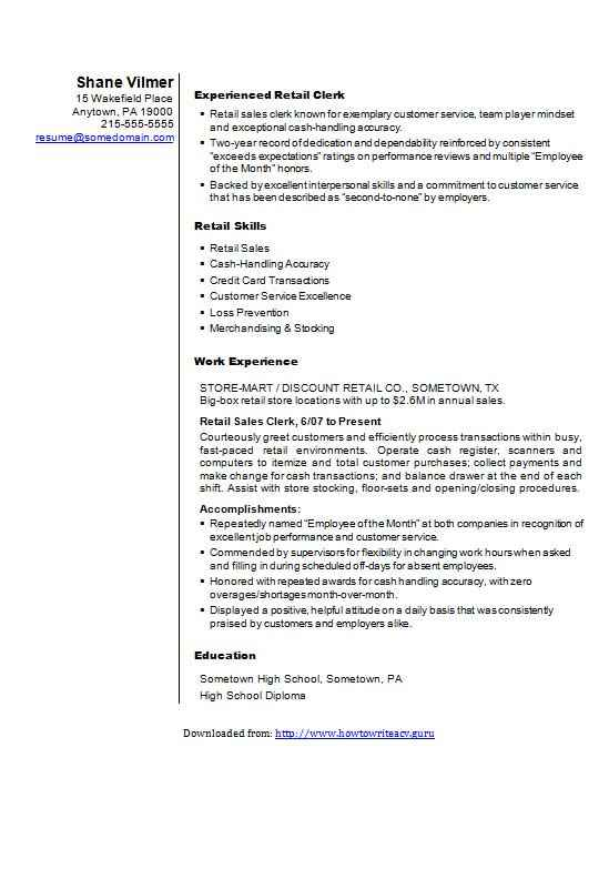 a great cv example