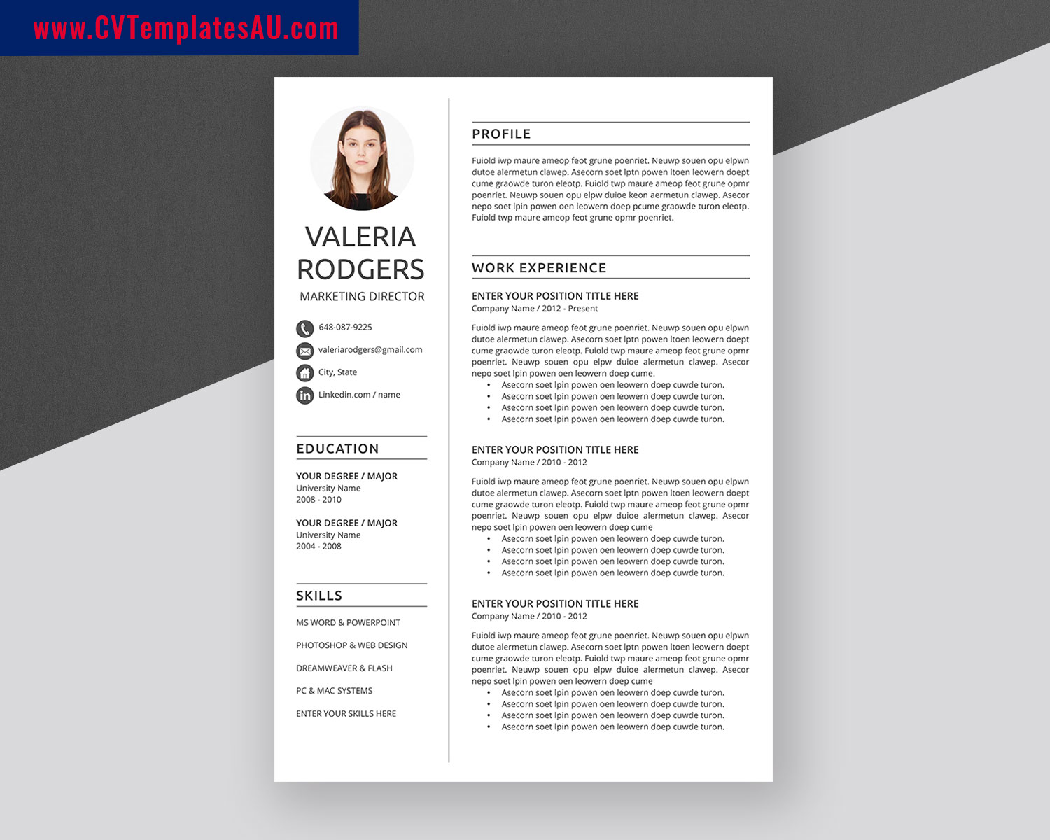 professional looking resumed and cover letter will catch hr's attention and give you a chance to get a job interview in a company of your dreams. Modern Cv Templates Bundle Professional And Simple Resume Templates Design Curriculum Vitae Ms Word Cv Format 1 3 Page Cv Templates For Job Application Cvtemplatesau Com