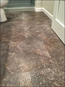 basement bathroom, vinyl tile installation