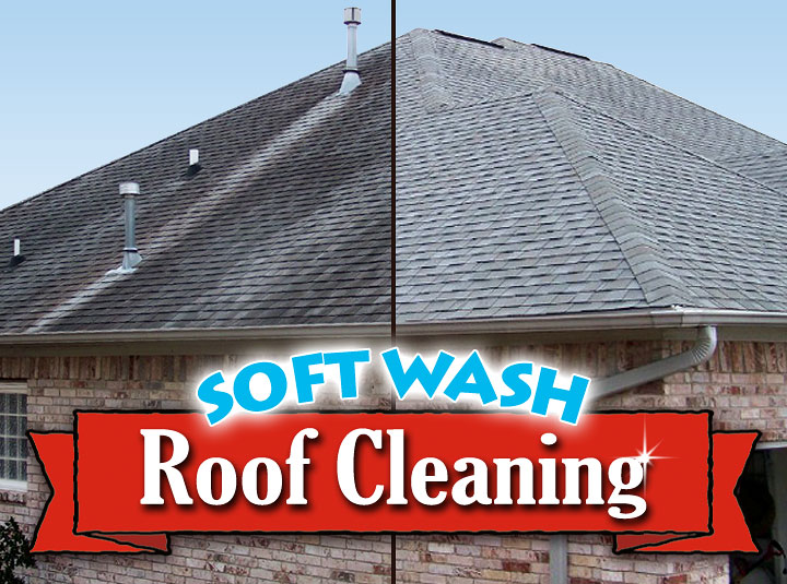 Roof washing service with exterior house washing & pressure washing. Soft washing house.