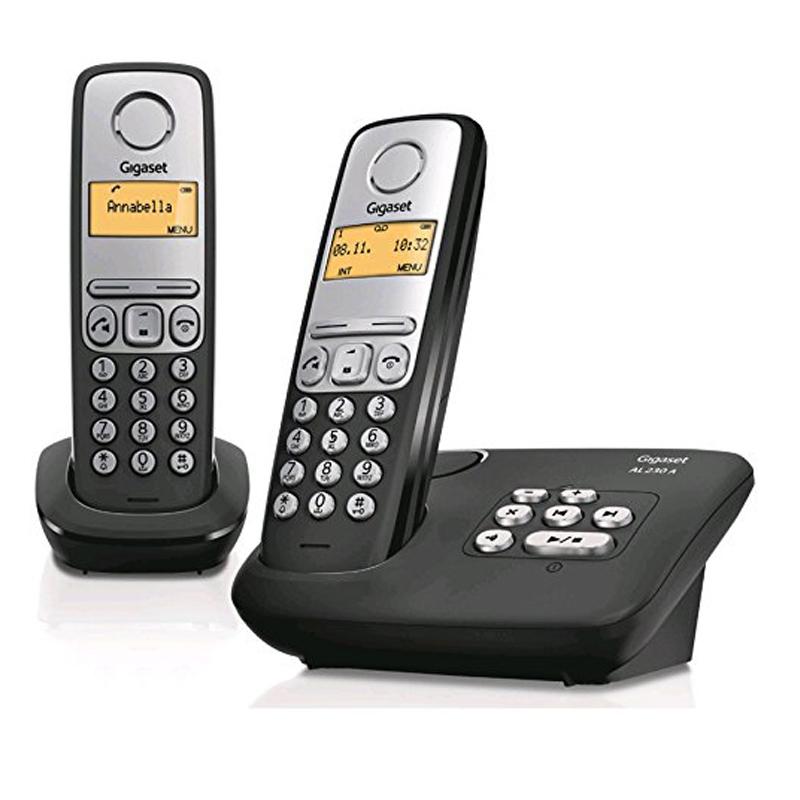 Gigaset AL230A Duo Schnurlostelefon 1,4 Zoll Display Anrufbeantworter schwarz NE