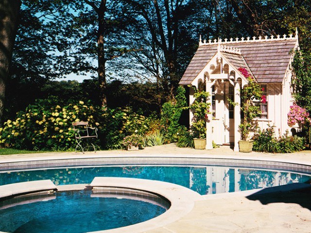 Gothic Pool House by Chris Wallace Architect