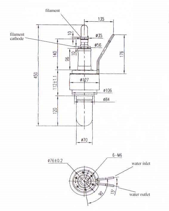 High Power Industrial Magnetron Tube 50kW 915MHz Microwave