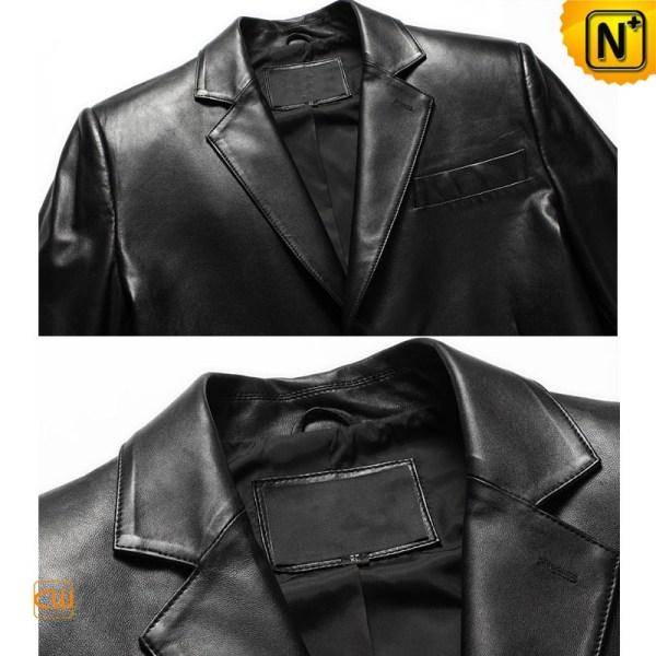 Mens Black Leather Blazer Jacket Cw840802