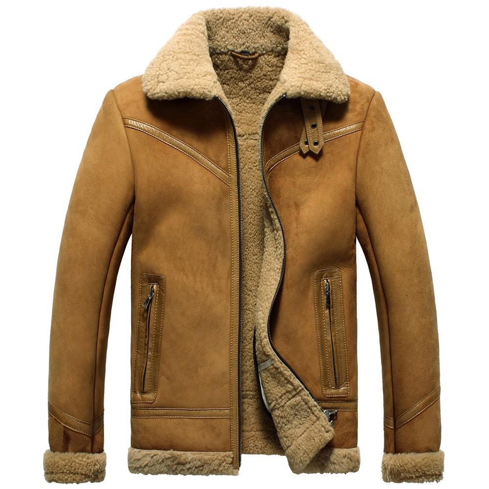Sheepskin Flying Bomber Jacket for Men CW856139