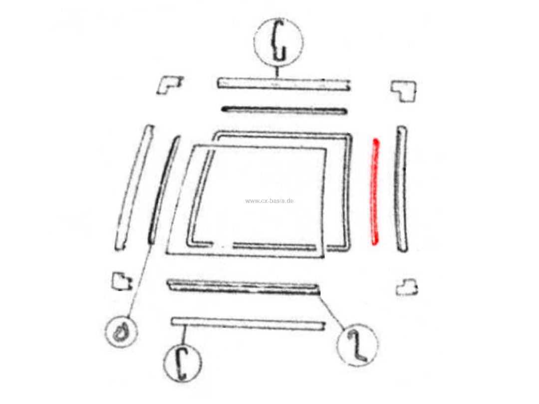 Zierleiste Seitenscheibe CX Break (1/82->) hinten