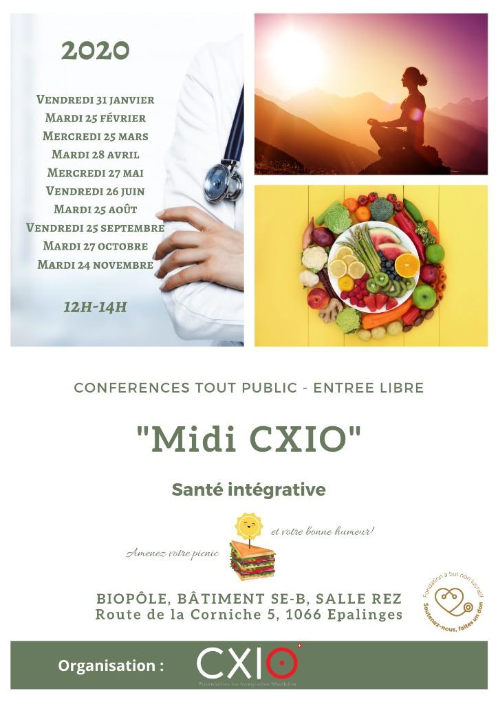 """Flyer """"Midi CXIO"""" - Conférences santé intégrative"""