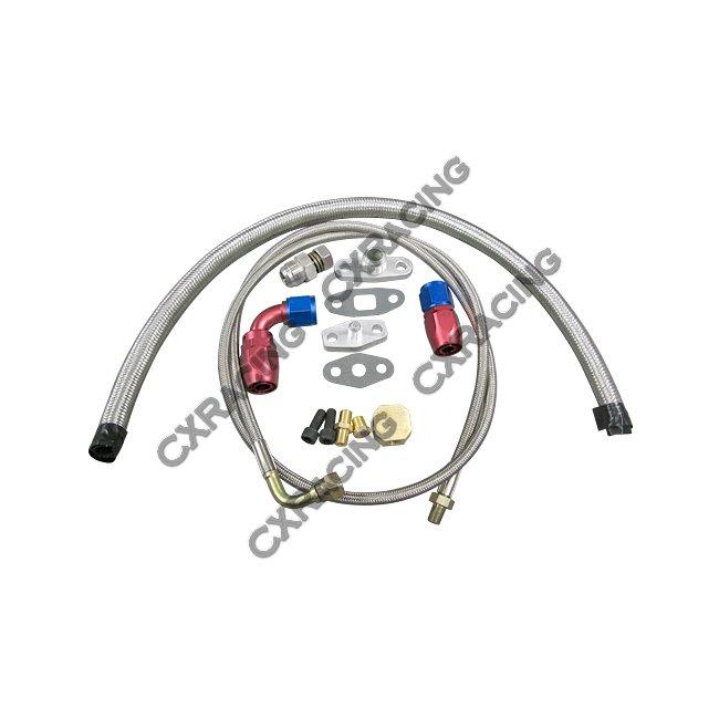 Universal Turbo Oil Line Kit Feed Return Drain Pan Plug