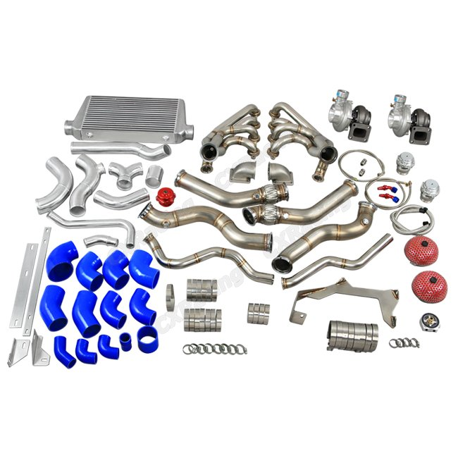 Psi Wire Harness Twin Turbo Manifold Header Intercooler Kit For 67 69