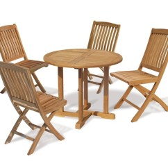 Teak Table And Chairs Garden Chair Seat Covers At Walmart Canfield 1m Round Set Four Seater Folding Jpg