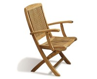 Rimini Wooden Garden Chair with arms, Teak Folding Chair