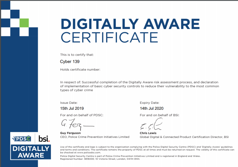 CYBER 139 are very pleased to have passed the PDSC Digital Aware Assessment.