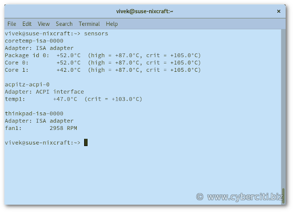 How to check CPU temperature in OpenSUSE Linux - nixCraft