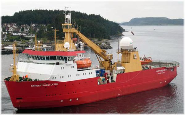 The 4,028-ton British Antarctic survey ship Ernest Shackleton