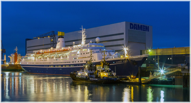 Cruise Ship Marco Polo at Damen Shiprepair Vlissingen