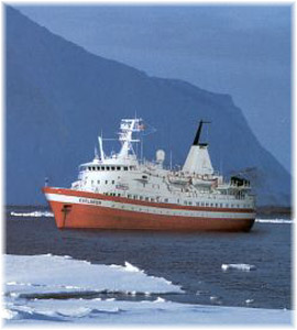 The 2,398-ton 104-berth Lindblad Explorer, the Little Red Ship