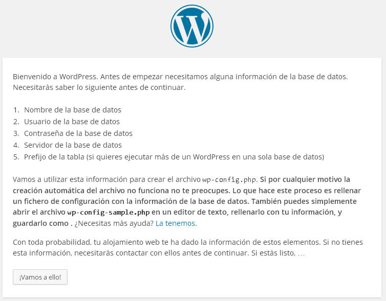 Pantalla inicial de instalación wordpress