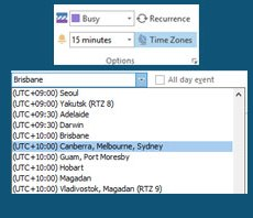 Using the Time Zones feature of Microsoft Outlook for interstate meetings during daylight savings time