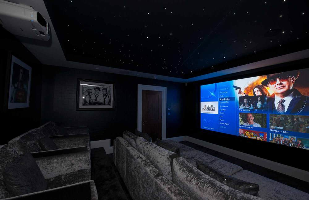 medium resolution of dedicated home cinema room with epson projector and 3 m screen