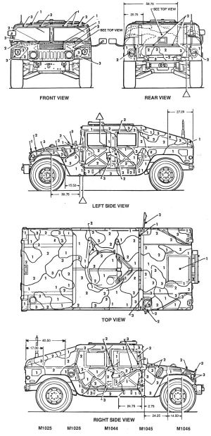 M1025M1026M1044M1045M1046M1151M1152 HMMWV Camouflage Color Profile and Paint Guide