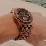 JORD Wooden Watches for Men - Sawyer Series Chronograph AutomaticWood Watch BandWood BezelSelf Winding Movement - Includes Wood Watch Box (Zebrawood & Obsidian)