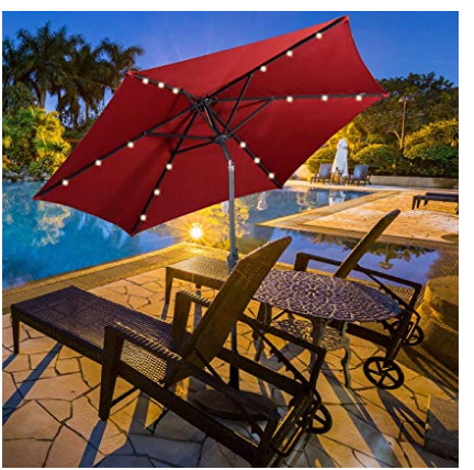 Umbrella with stand and lights