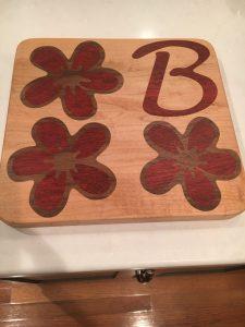 Maple base with Paduak and Walnut Inlay