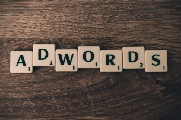 ADWORDS spelled out with scrabble tiles.