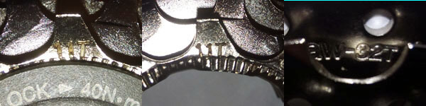 The sprockets on an 8-speed cassette are marked with their number of teeth