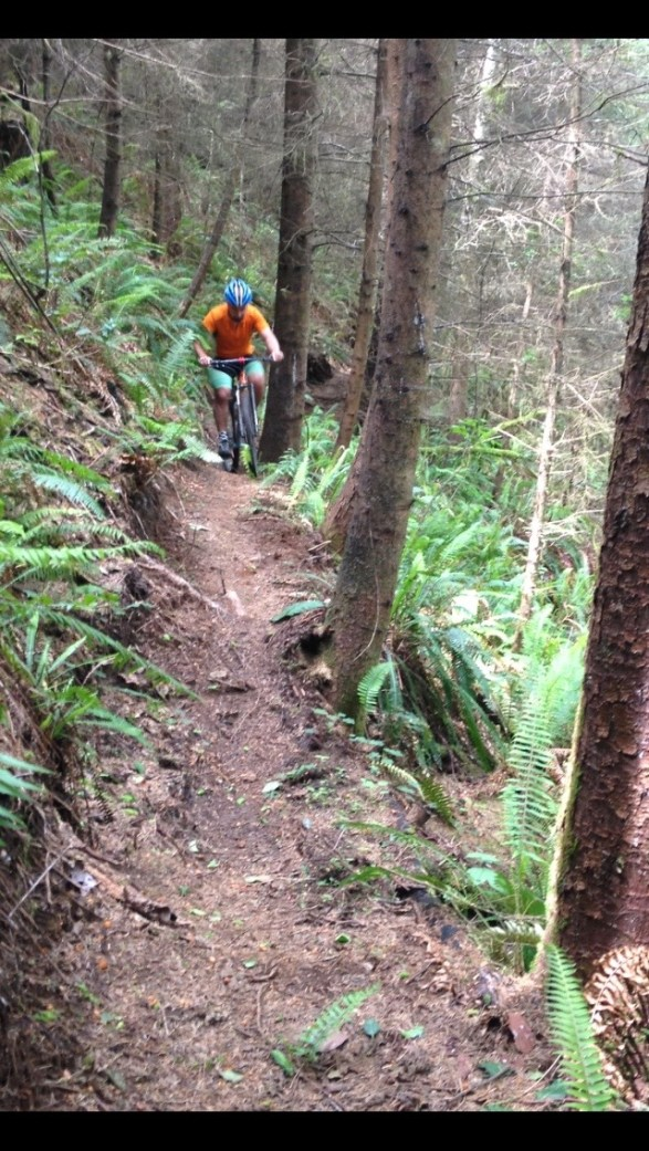 """Dropping into """"No Man's Land,"""" as this portion of trail is known."""