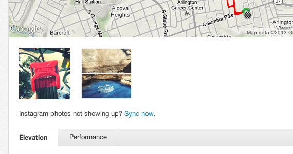 Screenshot of Instagram integrated into Strava.