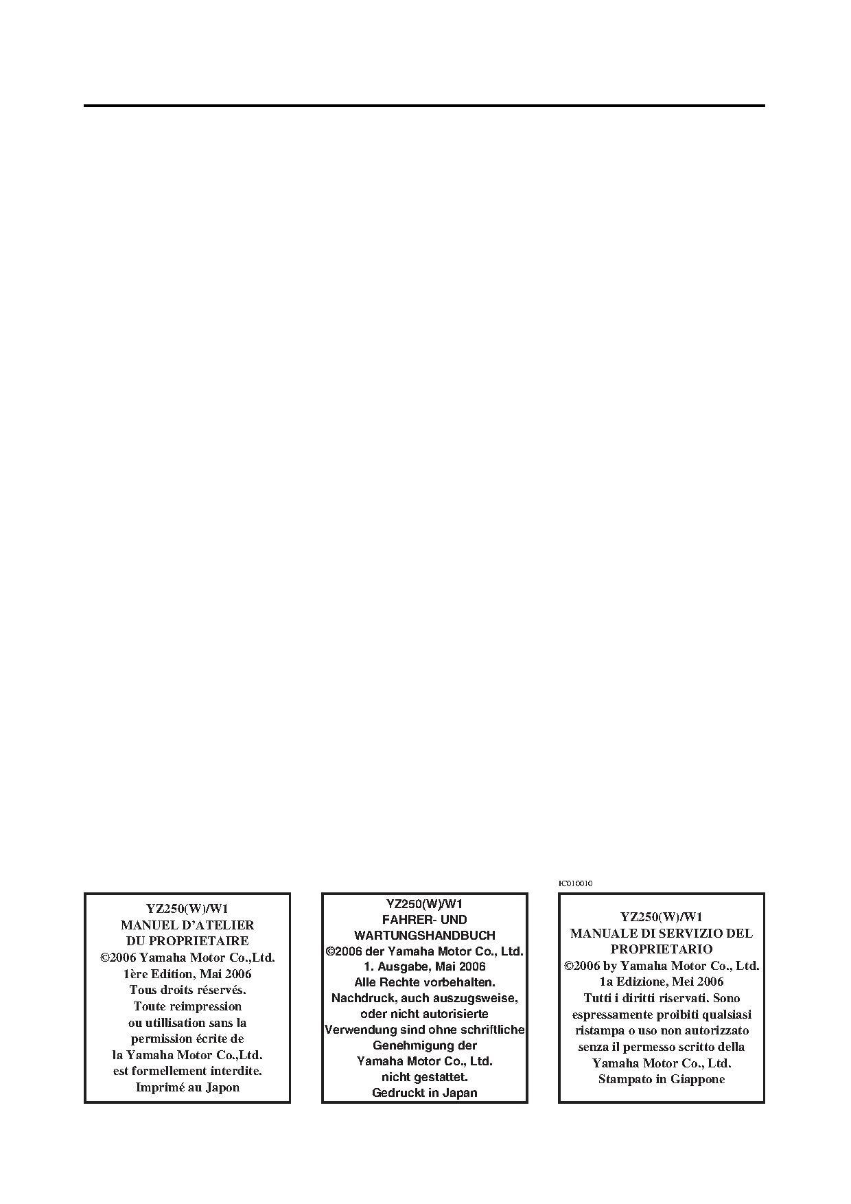 File:2007 Yamaha YZ250 W Owners Service Manual.pdf