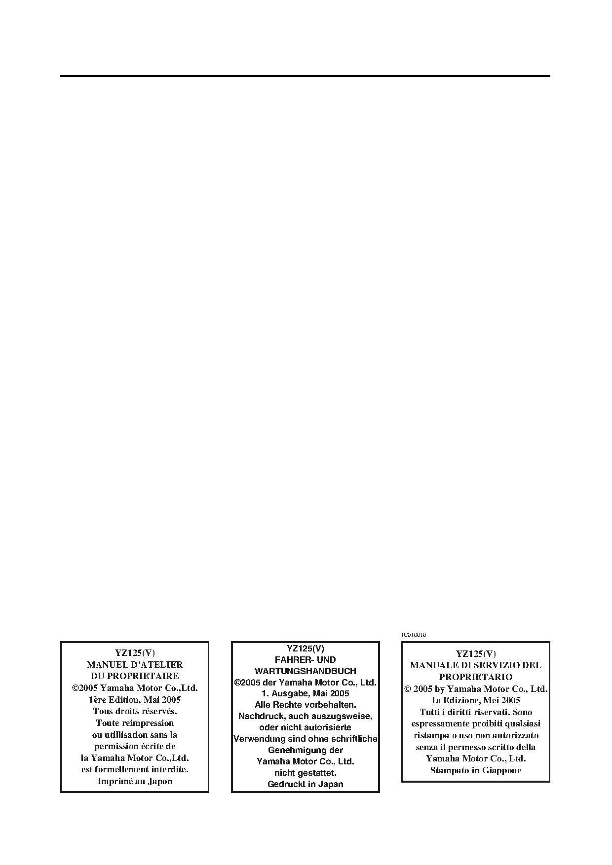 File:2006 Yamaha YZ125 V Owners Service Manual.pdf