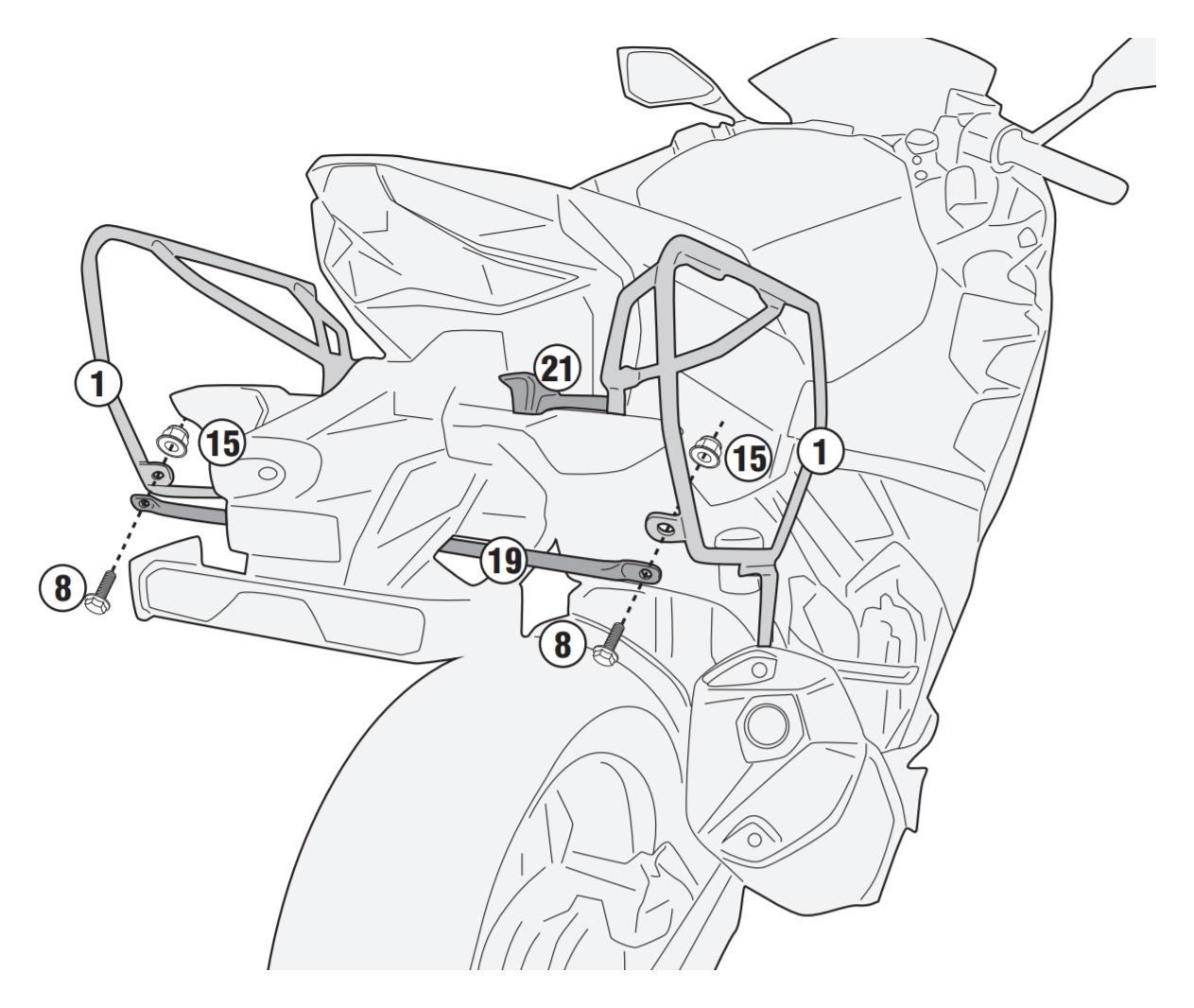 Givi TE4127 Easylock Saddlebag Supports Kawasaki Ninja 400