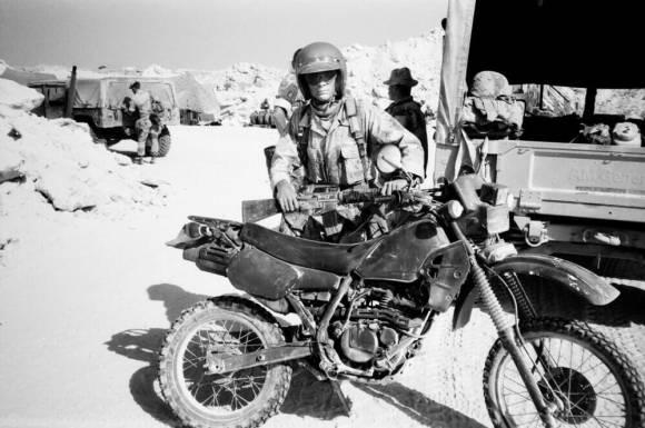 Keith Dowdle and his Kawasaki KLX250 in Saudi Arabia