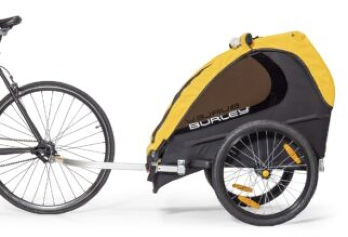 Burley Bee Trailer attached to a bike