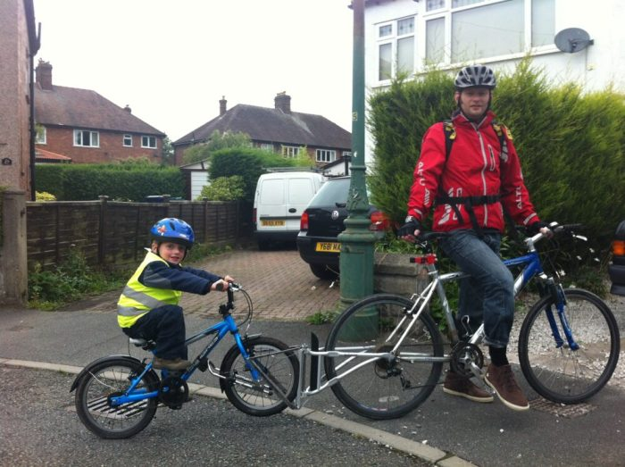 FollowMe tandem attached a childs bike to an adult bike for safe on road cycling