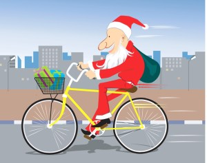 Picture of Father Christmas on a bike