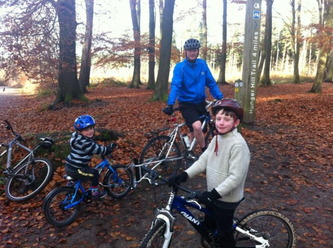 Riding the forest trails at Delamere Forest with young children