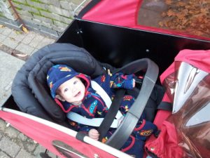 Photo of baby boy in Christiania cargo bike
